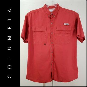 Columbia Men Short Sleeve Shirt Size Large Red
